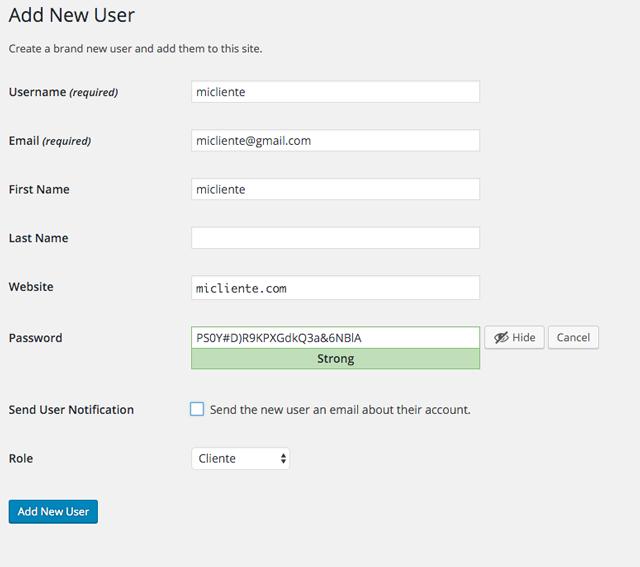 Crear Nuevo Usuario Cliente